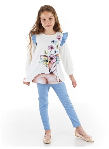 Denokids Ceylan Kız Gabardin Dar Pantolon Takım Renkli